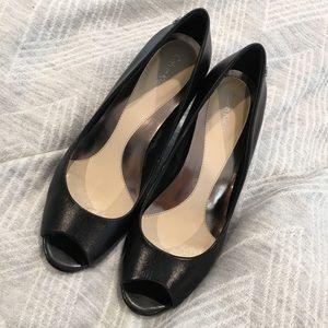 Calvin Klein peep toe black pumps Size 7.5